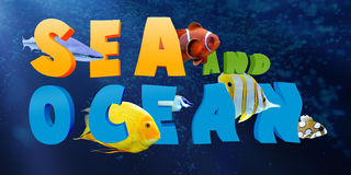 Word SEA AND OCEAN with many tropical fish Stock Photo