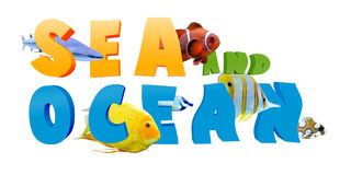 Word SEA AND OCEAN with many tropical fish Stock Images