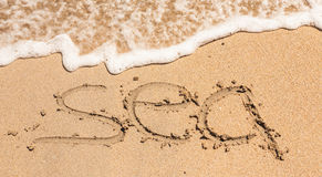 Word Sea Written in the Sand on a Beach Stock Photo