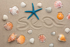 The word sea written on the sand Royalty Free Stock Image