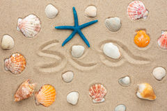 The word sea written on the sand Stock Image