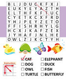 Word search game with animals. Funny word search game for kids: Find the words hidden within the word search grid Royalty Free Stock Photography