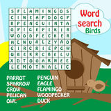 Word search game. birds