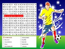 Word search game - find the nine players soccer. Word search game: Find the nine words of players soccer, hidden within the word search grid Stock Illustration