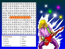 Word search game - find the nine rock bands. Word search game: Find the nine words of rock bands, hidden within the word search grid Vector Illustration