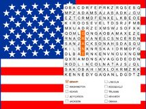 Word search game - find the nine U.S. presidents Stock Photo