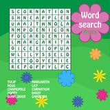 Word search game. flowers. Word search game for kids with flowers names Stock Image
