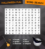 Word search game. Halloween word search game. The words may be horizontally, vertically and diagonally Stock Photo