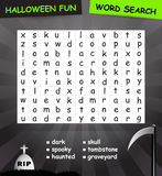 Word search game. Halloween word search game. The words may be horizontally, vertically or diagonally Royalty Free Stock Photography