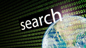 The word `search` on lcd screen. Stock Images