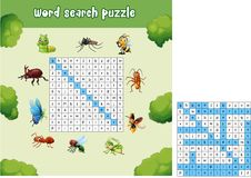 Word search puzzle about bugs animals Stock Photography