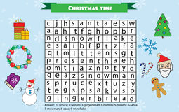 Word search puzzle for children, educational game. Christmas winter holidays theme Stock Photography