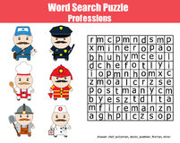 Word search puzzle for children. Professions theme Stock Photos