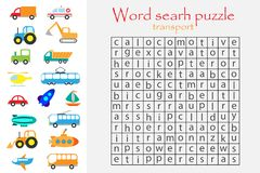 Word search puzzle for children, transport theme, fun education game for kids, preschool worksheet activity, vector illustration royalty free illustration