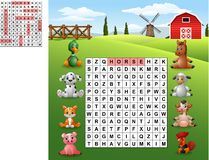 Word search puzzle about farm animals Royalty Free Stock Photo