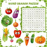 Word search puzzle. Vector education game for children. Cartoon vegetables emoticons. Vector illustration royalty free illustration