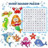 Word search puzzle. Vector education game for children. Sea animals Royalty Free Stock Images
