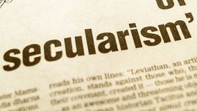 The word Secularism in english newspaper royalty free stock photos