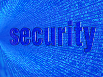 The word security in the background numbers one and zero Stock Photo