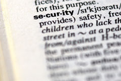 The word security in a dictionary. Close-up of the word security in a dictionary Royalty Free Stock Images