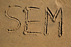 The word SEM written in the sand Royalty Free Stock Images