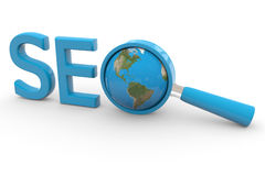 Word SEO, Earth and magnifying glass replacing O Royalty Free Stock Photo