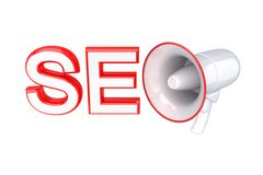 Word SEO and megaphone. Stock Images