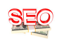 Word SEO and money packs. Royalty Free Stock Image