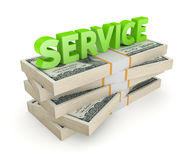 Word SERVICE and stack of dollars. Royalty Free Stock Photography
