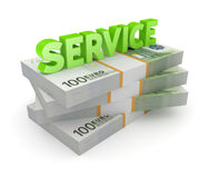 Word SERVICE and stack of euro. Stock Images
