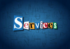 The word Services made from cutout letters. On a blue background Royalty Free Stock Photos