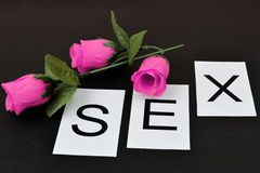 Word `Sex` on the black background. Word from isolated letters Royalty Free Stock Image