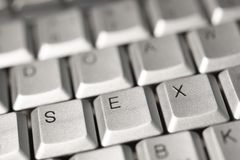 The word sex from the letters on the keyboard buttons stock image