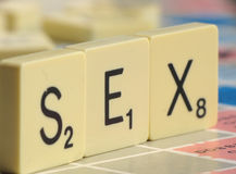 The word Sex is spelled wit letters Stock Photo