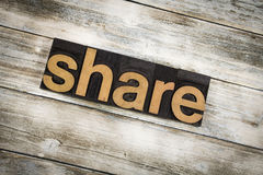 Share Letterpress Word on Wooden Background stock photos