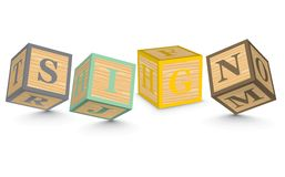 Word SIGN written with alphabet blocks Stock Images