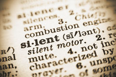 The word Silent in the dictionary Stock Photography