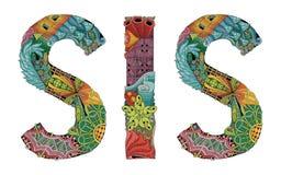 Word SIS Vector decoratief zentanglevoorwerp Stock Foto's