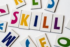 Word skill made of colorful letters. On white background Royalty Free Stock Images