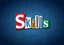 The word Skills made from cutout letters. On a blue background Royalty Free Stock Photo