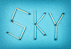 Word SKY made of matchsticks Stock Images
