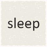 Word slaap met gesloten ogen Stock Foto