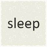 Word sleep with closed eyes. On gray background Stock Photo