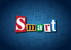 The word Smart made from cutout letters. On a blue background Royalty Free Stock Images