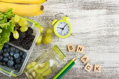 Word Snack and berries stock photography