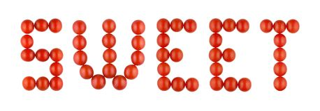 Word SNOEPJE van rode tomaten op de witte achtergrond wordt gemaakt die Stock Fotografie