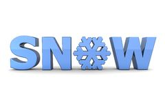 Word Snow With Snowflake - Light Blue Stock Photography