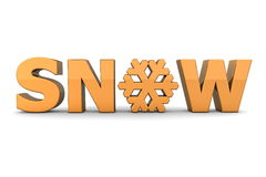 Word Snow With Snowflake - Orange Stock Photography