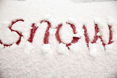 Word snow in the snow Stock Image