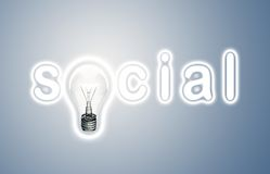 Word social and lamp Royalty Free Stock Photography